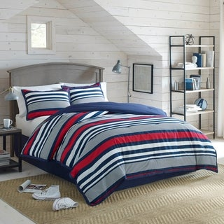 Izod Varsity Stripe 4 Piece Comforter Set In Red White And Blue Stripes