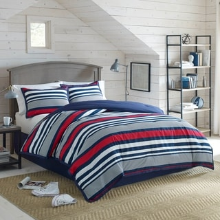 IZOD Varsity Stripe 4-Piece Comforter Set in Red, White, and Blue Stripes
