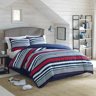 izod varsity stripe 4piece comforter set in red white and blue stripes