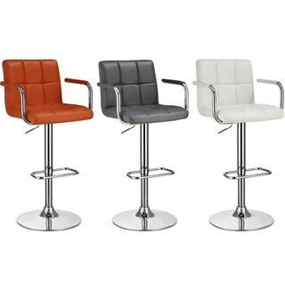Falco Mid Century Modern Adjustable Square Stitched Upholstered Swivel Stool
