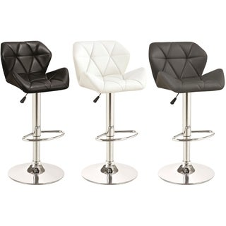 Bolton Mid Century Adjustable Upholstered Stool with Chrome Base (Set of 2)