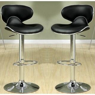 Houston Modern Design Black Upholstered Adjustable Stools (Set of 2)