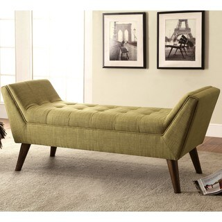 Magnolia Mid Century Design Tufted Green Upholstered Accent Ottoman/ Bench