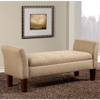 Link to Mid Century Design Upholstered Storage Bench/ Ottoman with Flared Arms Similar Items in Living Room Furniture
