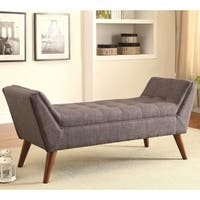 Magnolia Mid Century Design Tufted Grey Upholstered Accent Ottoman/ Bench