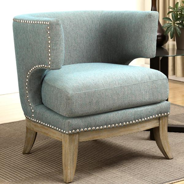 Luxenberg Mid Century Modern Barrel Back Design Soft Blue Accent Chair With Nailhead Trim
