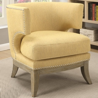 Luxenberg Mid Century Modern Barrel Back Design Yellow Accent Chair with Nailhead Trim