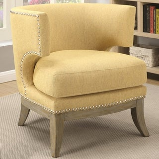 Perfect Luxenberg Mid Century Modern Barrel Back Design Yellow Accent Chair With  Nailhead Trim