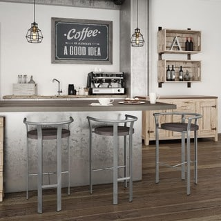 Amisco Rendezvous Metal and Wood Barstool
