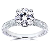 Annello by Kobelli 14k White Gold 1 1/2ct TGW Forever One DEF Moissanite and Diamond Antique Cathedral Engagement Ring