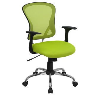 Posey Green Mesh Back Adjustable Swivel Office Arm Chair with Chrome Base