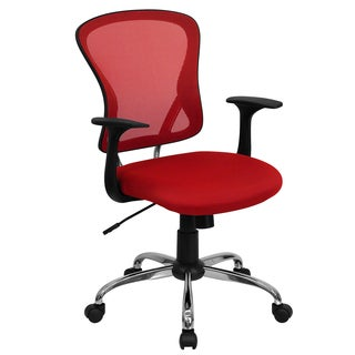 Posey Red Mesh Back Adjustable Swivel Office Chair with Chrome Base