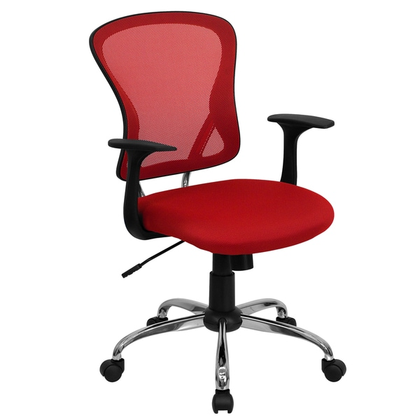 Posey Red Mesh Back Adjule Swivel Office Chair With Chrome Base