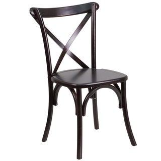 Dylan Wood Cross Back Design Walnut Stackable Chairs