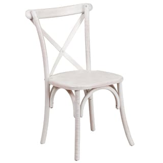 Dylan Wood Cross Back Design Antique Limewash Stackable Chairs