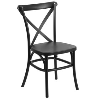 Saber Bistro Resin Cross Back Design Black Stack Dining Chairs