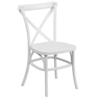 Saber Bistro Resin Cross Back Design White Stack Dining Chairs