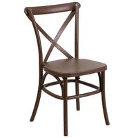 Saber Bistro Resin Cross Back Design Brown Stack Dining Chairs