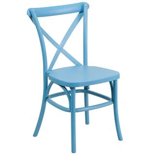 Saber Bistro Resin Cross Back Design Blue Stack Dining Chairs