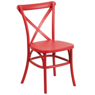 Saber Bistro Resin Cross Back Design Red Stack Dining Chairs