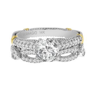Verragio 14K Gold Semi Mount 5/8ct TDW Diamond and Cubic Zirconia Ring and Wedding Band (VS1-VS2, F-G)