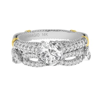 Verragio 14K Gold Semi Mount 5/8ct TDW Diamond and Cubic Zirconia Ring and Wedding Band