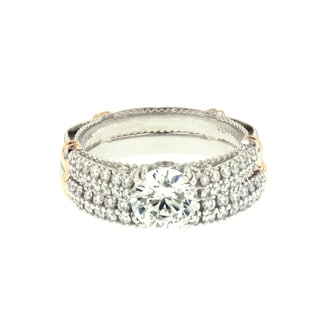 Verragio 14k Gold 5/8ct TDW Cubic Zirconia Semi Mount Engagement Ring and Wedding Band