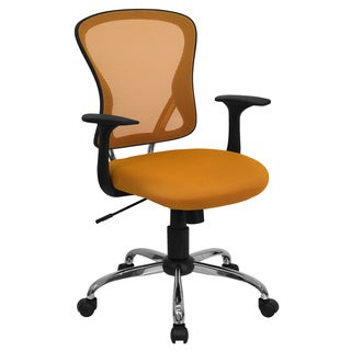 Posey Orange Mesh Back Adjustable Swivel Office Arm Chair with Chrome Base