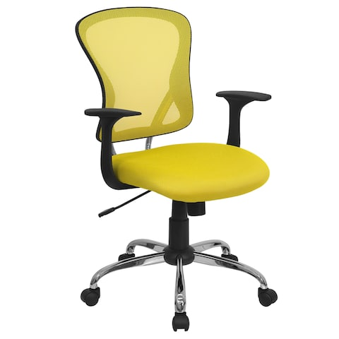 Posey Yellow Mesh Back Adjustable Swivel Office Arm Chair with Chrome Base