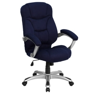 Malaga Executive Navy Blue Microfiber Adjustable Swivel Office Chair with Padded Arms