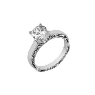 Verragio 18k White Gold 1/10 TDW Diamond and Cubic Zirconia Solitaire Semi Mount (VS1-VS2, F-G)