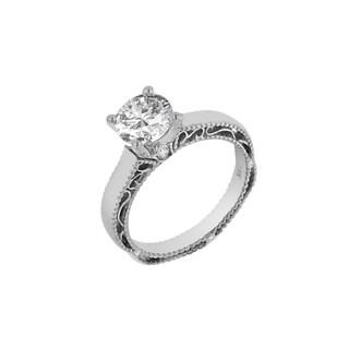 Verragio 18k White Gold 1/10 TDW Diamond and Cubic Zirconia Solitaire Semi Mount
