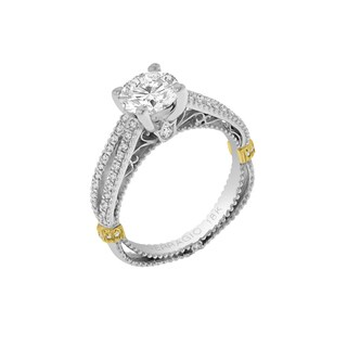 Verragio 18k Gold Side Stone Semi Mount with CZ Center and 3/8 ctw. Diamonds