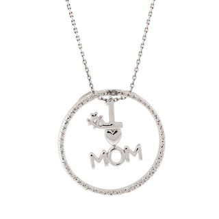 "Pori Sterling Silver ""#1 Heart Mom"" Diamond Accent Pendant Necklace"