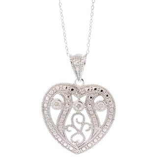 Pori Sterling Silver Diamond Accent Fancy Heart Pendant Necklace