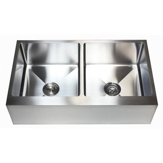36 Inch 15mm Stainless Steel Flat Front Farm Apron 50/50 Double Bowl Kitchen Sink