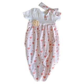 Baby Girl Peach Flamingos Layette Set