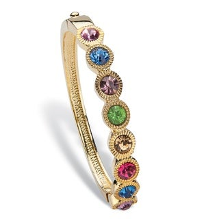 "PalmBeach Round Multicolor Crystal Halo-Style Bangle Bracelet in Gold Tone 8"" Color Fun"