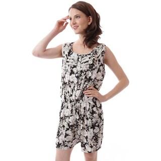 Soho Apparel Women's Sleeveless Floral Print Ruffled Bodice Elastic Waist Romper