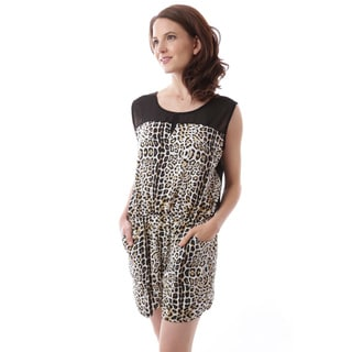 Soho Apparel Women's Sleeveless Leopard Print Mesh Elastic Waist Romper