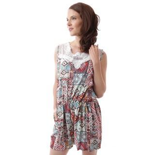Soho Apparel Women's Crochet Bodice Elastic Waist Romper