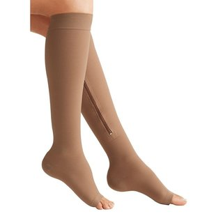 Zip Sox Beige Zip-Up Compression Socks (Size: S/M)