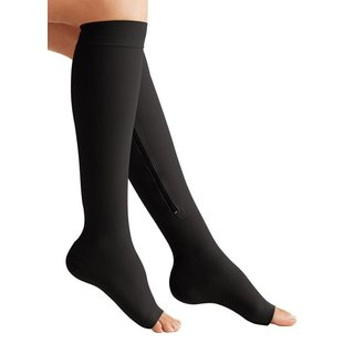 Zip Sox Black Zip-Up Compression Socks (Size: S/M)