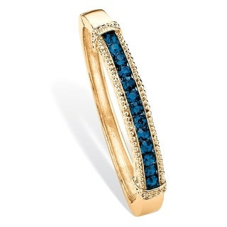 """Round Pave Simulated Blue Sapphire Crystal Bangle Bracelet in Gold Tone 8"""" Color Fun"""