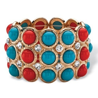 """Red and Blue Bead and Crystal Stretch Bracelet in Gold Tone 8"""" Bold Fashion"""