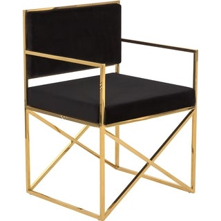 Safavieh Couture High Line Collection Kian Black/ Gold Velvet Glam Director's Chair