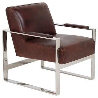 Safavieh Couture Collection Parkgate Oak Vintage Cigar Brown Leather Occassional Chair