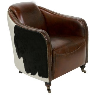Safavieh Couture Collection Fullham Oak Vintage Cigar Brown Leather Arm Chair
