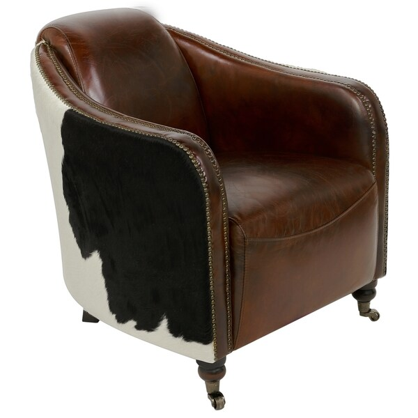 Attrayant Safavieh Couture High Line Collection Fullham Oak Vintage Cigar Brown  Leather Arm Chair