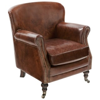 Safavieh Couture Collection Manchester Oak Vintage Cigar Brown Leather Arm Chair